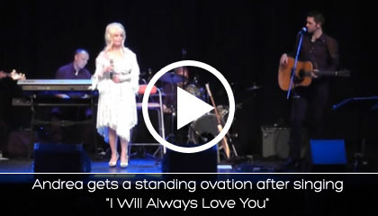 Andrea gets a standing ovation after singing I Will Always Love You